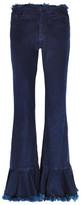Marques Almeida Marques' Almeida - Frayed High-rise Flared Jeans - Dark denim