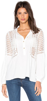 Twelfth Street By Cynthia Vincent Mixed Fabric Peasant Top