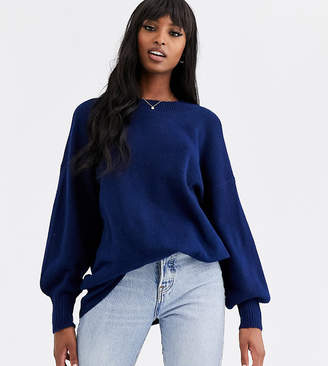 Asos Tall DESIGN Tall fluffy oversized jumper with volume sleeve in recycled blend-Navy