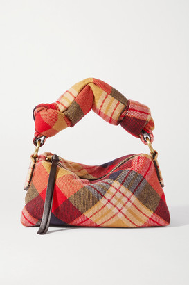 Dries Van Noten Pillow Small Tartan Wool-blend Flannel Tote - Red