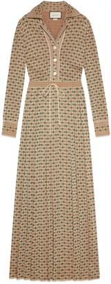 Gucci Long Square G viscose lame dress