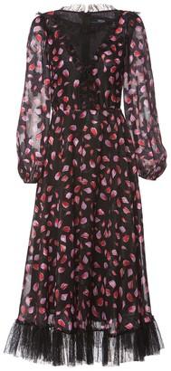Nissa Lace Insert Print Dress With Trim