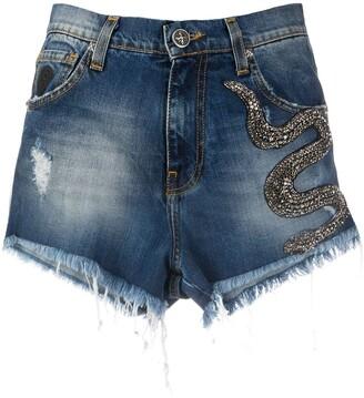 John Richmond Snake Embellished Denim Shorts