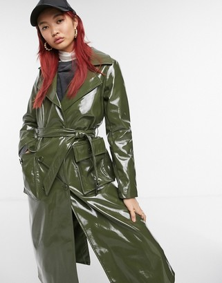 Urban Code Urbancode high shine PU belted trench coat in khaki