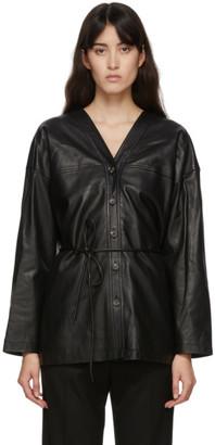 LE 17 SEPTEMBRE LE17SEPTEMBRE Black Leather Collarless Jacket