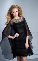 Terani Evening - M2231 Jewel Neck Sheer Overlay Cocktail Dress