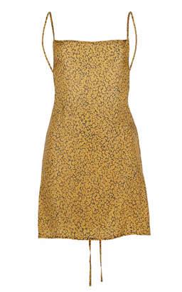 Anémone Back-Tied Leopard Cupro Mini Dress