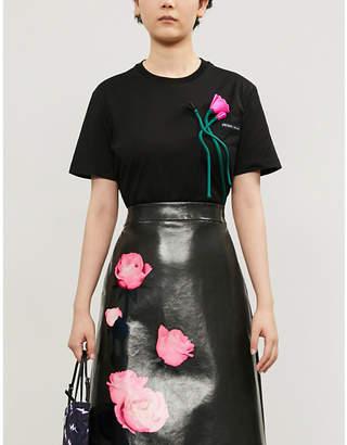 Prada Floral-appliquéd cotton-blend T-shirt