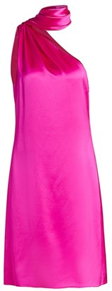 Brandon Maxwell One-Shoulder Scarf Silk Shift Dress