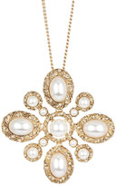 Natasha Accessories Antique Gold-Tone Synthetic Pearl Pendant Necklace