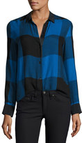 Rag & Bone Danni Long-Sleeve Buffalo Check Blouse, Blue/Black