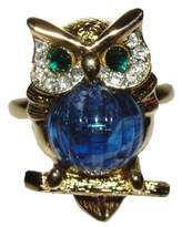 Kenneth Jay Lane Kenneth Lane 18K Gold Plated Rhinestone Eyes Jelly Belly Owl Ring Size 7.0