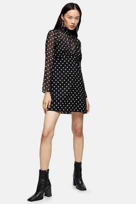 Topshop Black and White Shirred Neck Spot Mini Dress