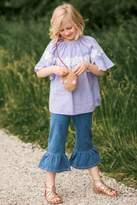 MAE LI ROSE Blue-Ticking-Stripe Floral-Lace Tunic