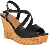Fashion Focus Black Super Wedge Sandal