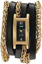 La Mer Women's Quartz Gold-Tone and Leather Watch, Color:Black (Model: LMPALERMO1001)