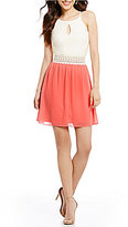 I.N. San Francisco Lace Bodice Color Block Fit-and-Flare Dress