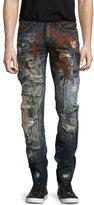 PRPS Artifact Distressed Slim-Straight Jeans, Dark Indigo