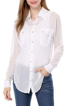 Unique Bargains Women's Point Collar Long Dolman Sleeve Loose Chiffon Shirt