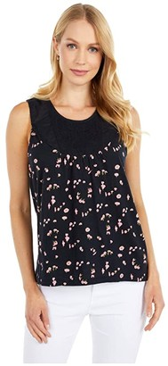 Lucky Brand Printed Embroidered Yoke Tank (Black Multi) Women's Clothing