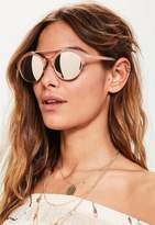 Missguided Rose Gold Metal Brow Bar Mirrored Sunglasses, Pink