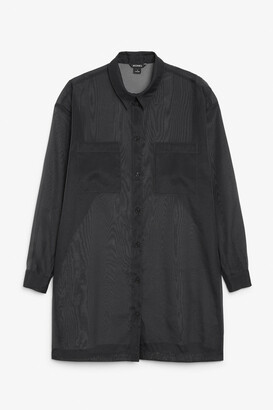 Monki Sheer longline shirt