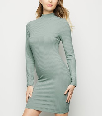 New Look Ribbed High Neck Mini Dress