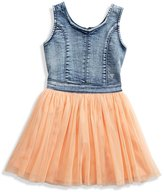 GUESS Knit Denim and Tulle Two-Fer Dress (2-6x)