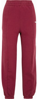 Vetements Embroidered Cotton-blend Jersey Sweatpants - Burgundy