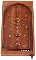 Bagatelle Game Wood with Brass Inlay and Steel Marbles, 'Thrill of the Game'