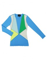 Cynthia Rowley Blue Multi Colorblock Rashguard