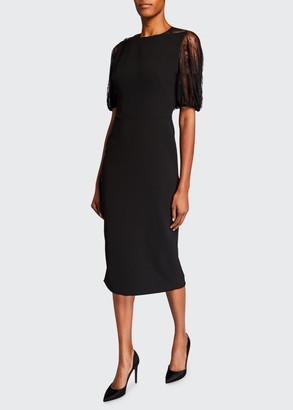 Lela Rose Lace-Back Blouson-Sleeve Dress