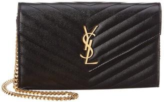 Saint Laurent Monogram Matelasse Leather Wallet On Chain