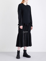 Yohji Yamamoto Ruched drop-waist cotton-jersey and gabardine dress