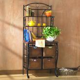 Southern Enterprises Stewart 28 in. W Bakers Rack in Black with Oak