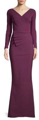 Chiara Boni Long-Sleeve V-Neck Gown