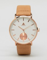 Asos Watch In Light Tan And Rose Gold