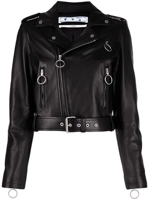Off-White Arrows motif cropped biker jacket