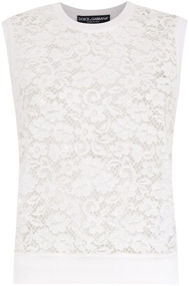 Dolce & Gabbana Sleeveless Lace Panelled Top