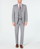 Van Heusen Men's Slim-Fit Flex Stretch Wrinkle-Resistant Light Gray Stripe Vested Suit