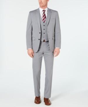 Van Heusen Men's Slim-Fit Flex Stretch Wrinkle-Resistant Light Gray Stripe Vested Suit