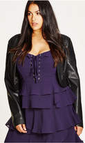 City Chic Black Pleather Bolero Jacket