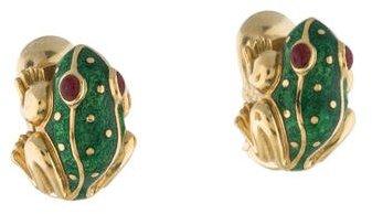 David Webb 18K Enamel Frog Clip-On Earrings