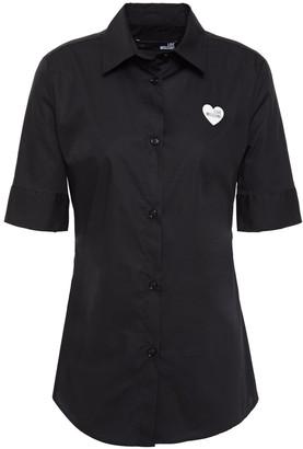 Love Moschino Appliqued Stretch-cotton Poplin Shirt