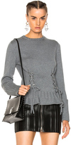 Alexander McQueen Lace Up Chunky Knit Sweater in Gray.
