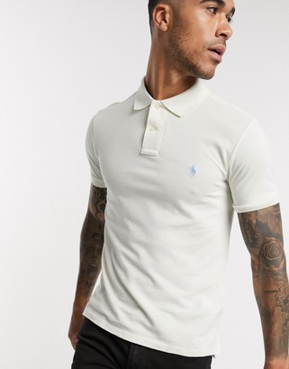 Polo Ralph Lauren slim fit mesh polo in cream with player logo