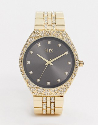 ASOS EDITION bracelet watch in gold with crystals