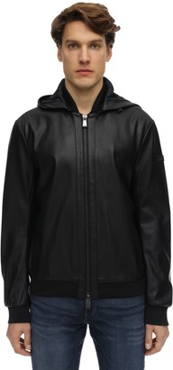 Armani Exchange Hooded Faux Leather Jacket