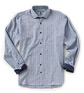Visconti Herringbone Skull Long-Sleeve Woven Shirt