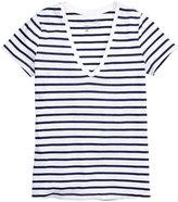 H&M V-neck Jersey Top - White/dark blue striped - Ladies